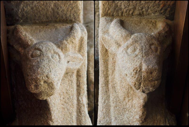 Detalhe de igreja Santiago de Taboada do Romanesque fotografia de stock