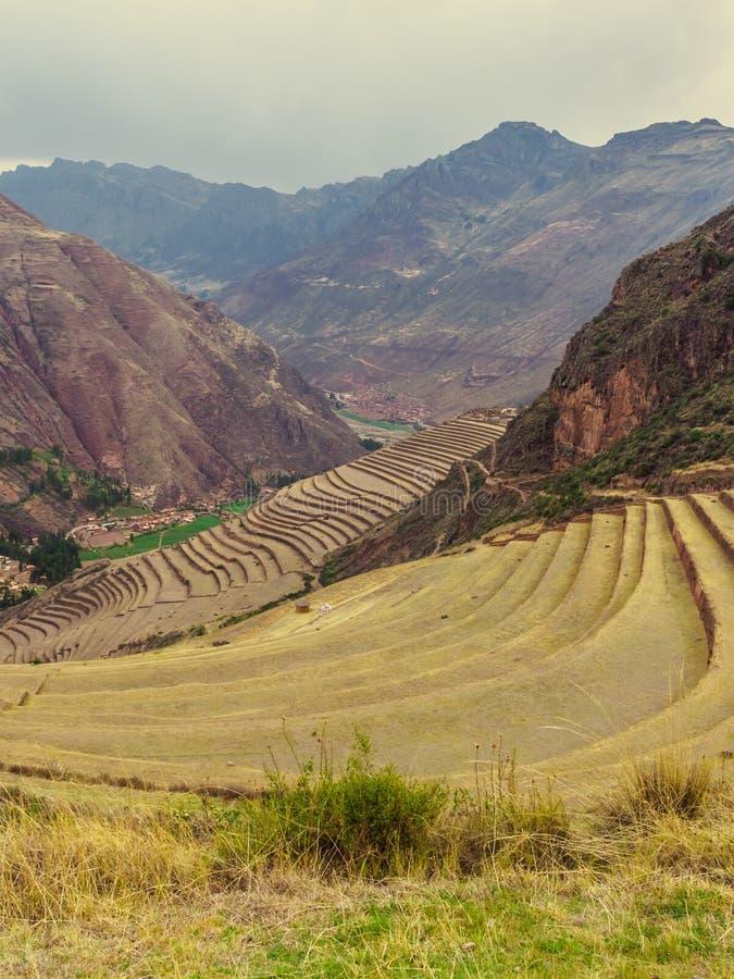 Detalhe de lugar do arque?logo de Pisac no vale sagrado dos Incas no Peru imagem de stock royalty free