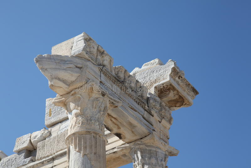 Detalhe de mármore do templo de Apollo antigo fotos de stock royalty free