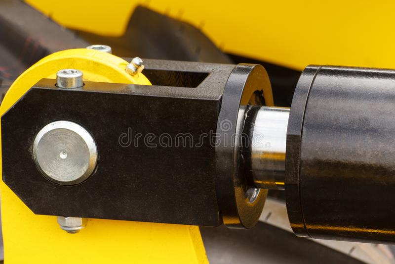 Detalhe de maquinaria pneumática ou hidráulica, parte do pistão ou atuador fotos de stock royalty free