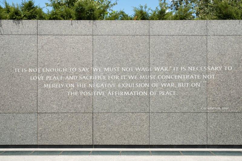 Detalhe de Martin Luther King Jr Memorial nacional em Washin fotos de stock royalty free