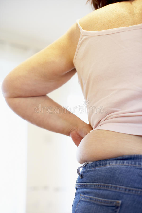 Detalhe de mulher do excesso de peso foto de stock