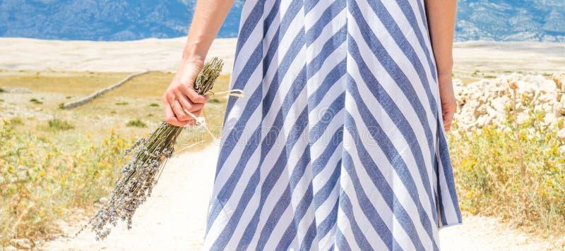 Detalhe de mulher no ramalhete da terra arrendada do vestido do verão de flores da alfazema ao andar exterior com rochoso seco fotografia de stock