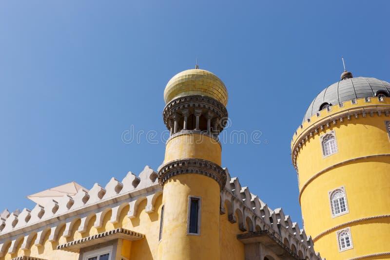 Detalhe de palácio nacional de Pena & de x28; Palacio Nacional a Dinamarca Pena& x29; - Palácio do Romanticist em Sintra fotografia de stock royalty free