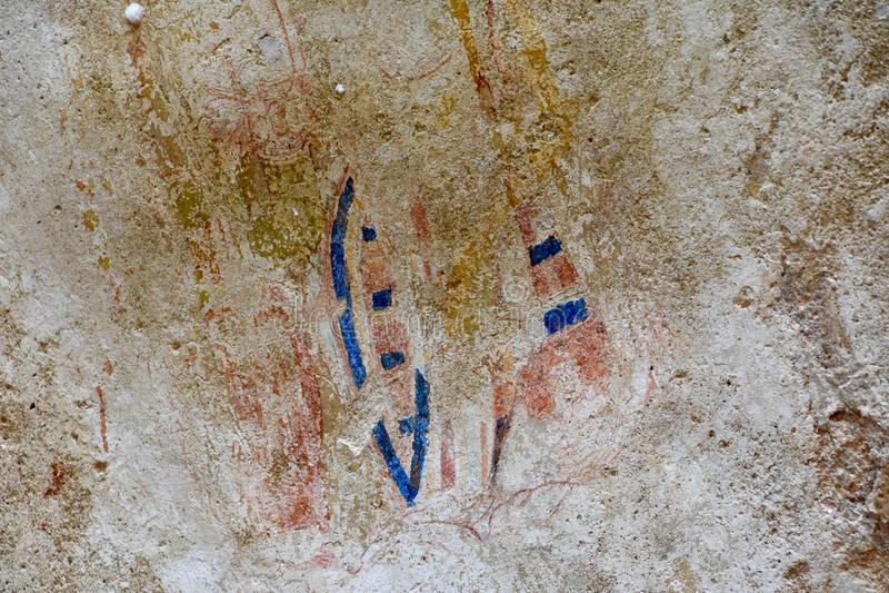 Detalhe de pintura de caverna na fortaleza da rocha de Sigiriya foto de stock royalty free