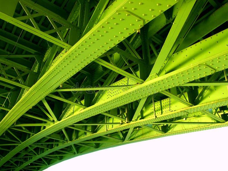 Detalhe de ponte verde do ferro imagens de stock
