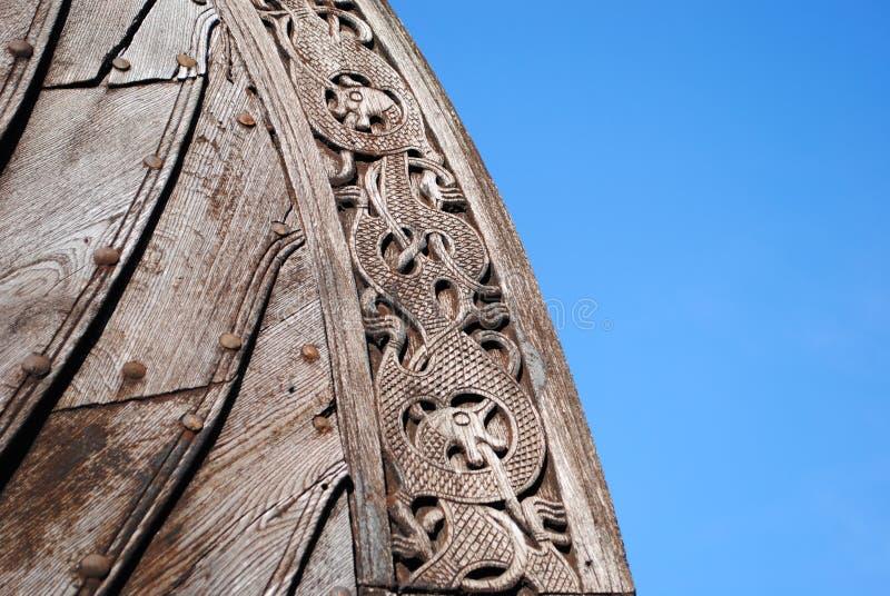 Detalhe de réplica do navio de Oseberg viquingue foto de stock royalty free