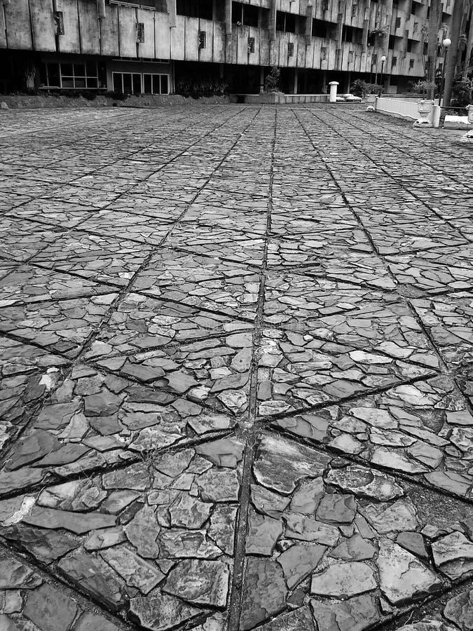 Detalhe de tijolos à construção da ciência em Hadyai, Songkhla, Tailândia foto de stock royalty free