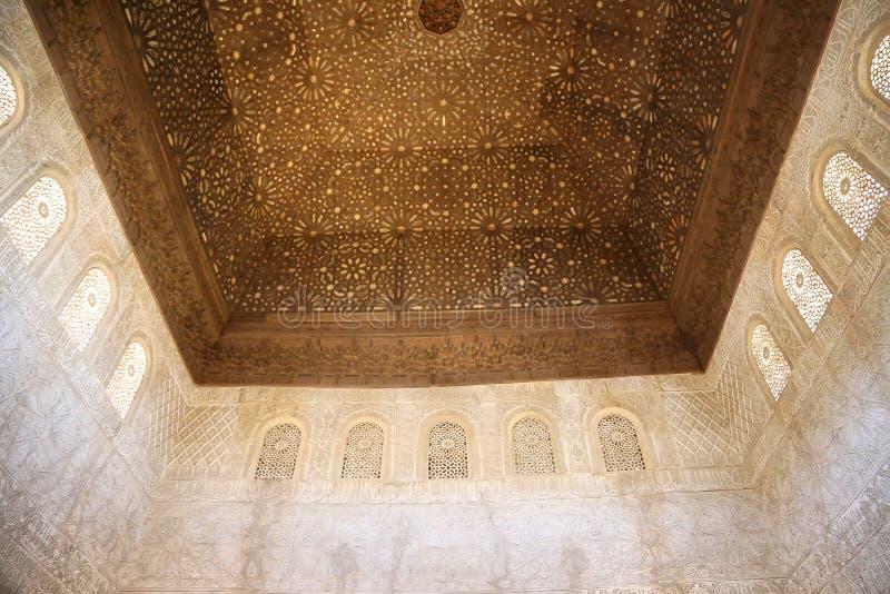 Detalhe de tilework (mouro) islâmico no Alhambra, Granada, Espanha fotos de stock royalty free