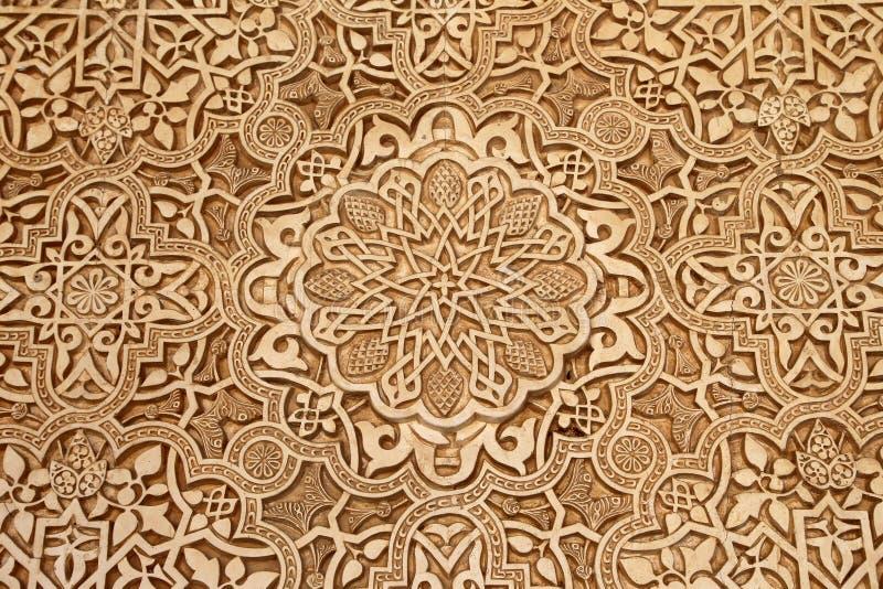 Detalhe de tilework (mouro) islâmico no Alhambra, Granada, Espanha imagem de stock
