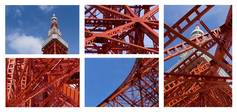Detalhe de torre do Tóquio, o marco de Japão no céu azul imagens de stock