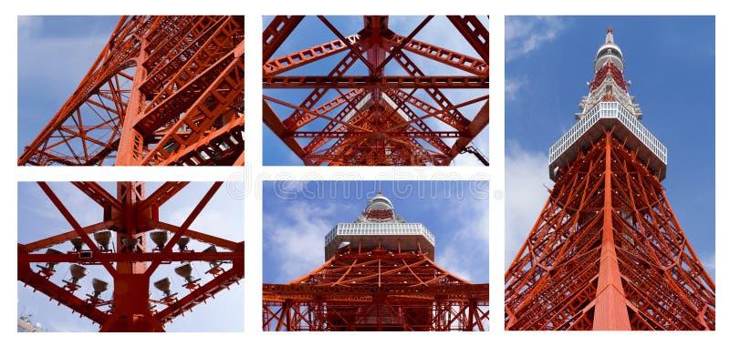 Detalhe de torre do Tóquio, o marco de Japão no céu azul imagens de stock royalty free