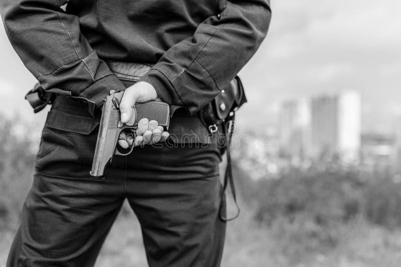 Detalhe de um agente da polícia fotos de stock