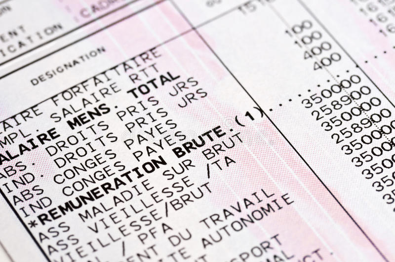Detalhe de um boletim de salário francês fotos de stock royalty free