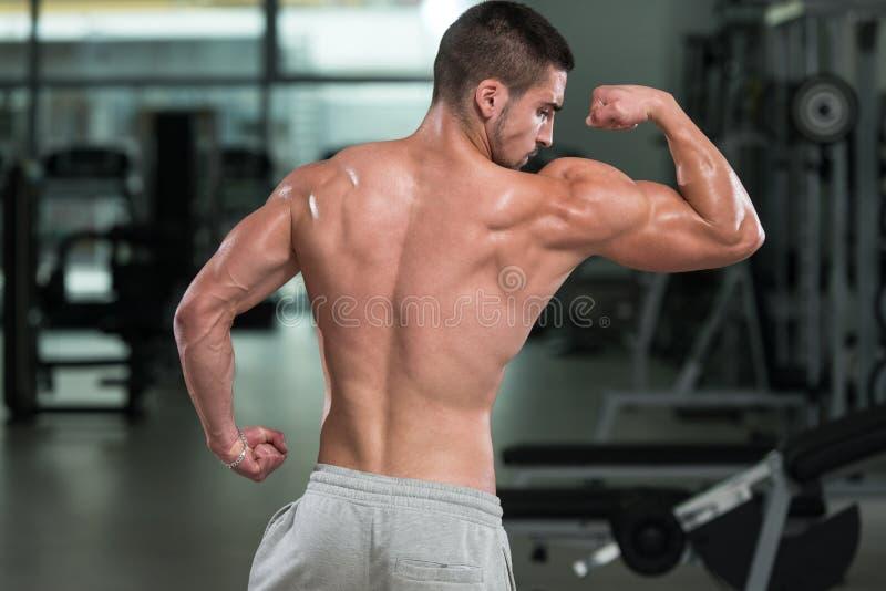 Detalhe de um halterofilista que levanta no Gym fotografia de stock royalty free
