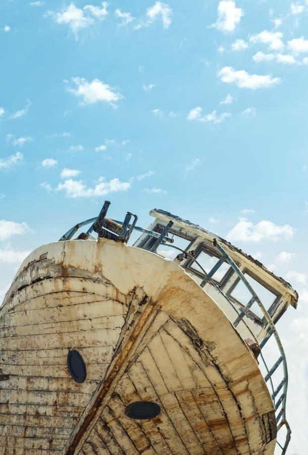 Detalhe de um shipwreck velho fotos de stock royalty free