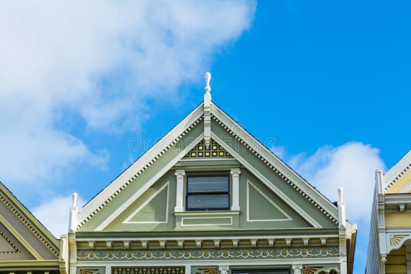Detalhe de um telhado pintado da senhora em San Francisco foto de stock