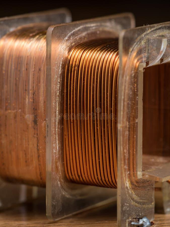 Detalhe de uma bobina eletromagnética, fio de cobre foto de stock royalty free