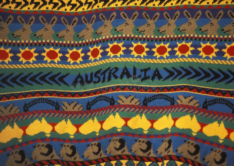 Detalhe de uma camiseta com projeto australiano fotos de stock