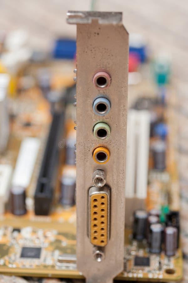 Detalhe de uma carta-som do computador fotografia de stock
