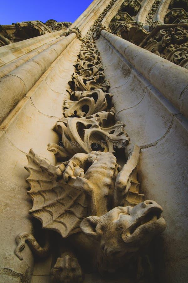 Detalhe de uma escultura da pedra do dragão fotografia de stock