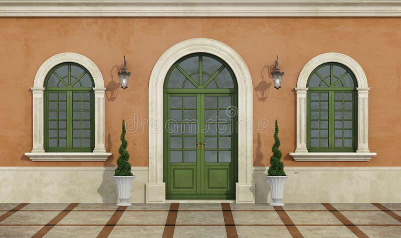 Detalhe de uma fachada clássica ilustração royalty free