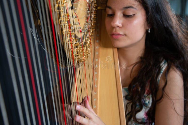 Detalhe de uma mulher que joga a harpa fotografia de stock