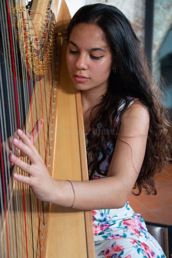 Detalhe de uma mulher que joga a harpa foto de stock