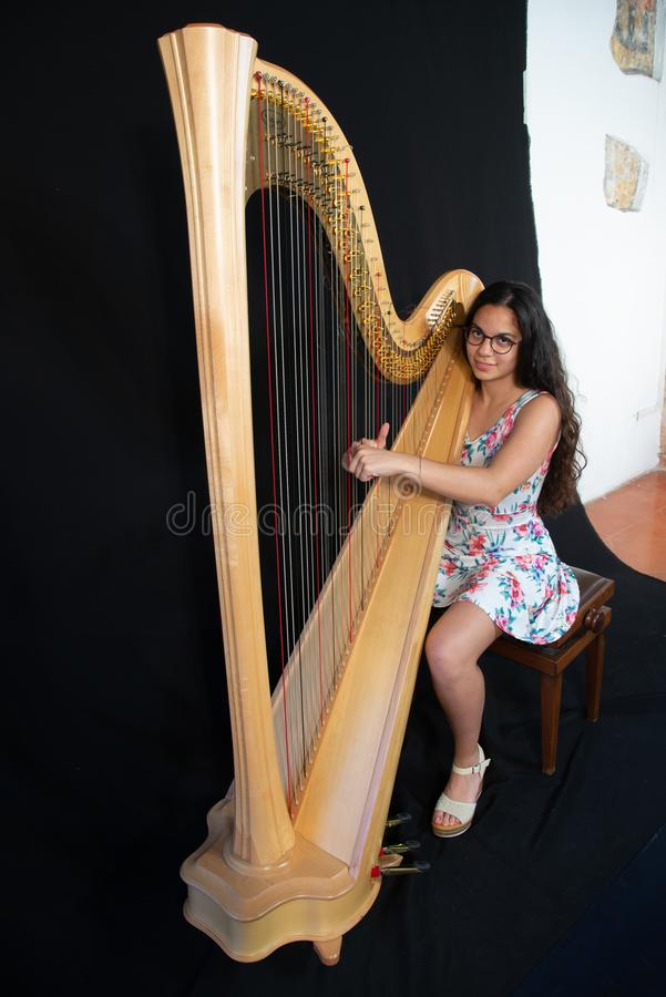 Detalhe de uma mulher que joga a harpa imagem de stock royalty free