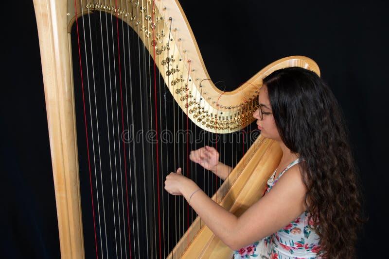 Detalhe de uma mulher que joga a harpa fotografia de stock royalty free