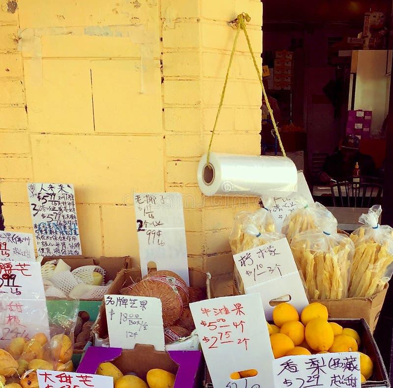 Detalhe de uma tenda vegetal em Oakland, Califórnia, bairro chinês fotografia de stock royalty free