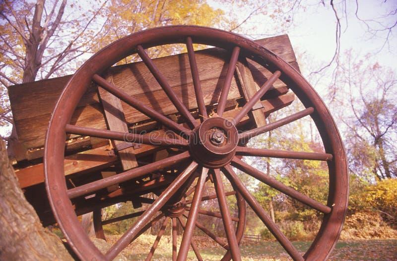 Detalhe de vagão no outono em Henry Wick House histórico, parque de Morristown, New-jersey foto de stock royalty free