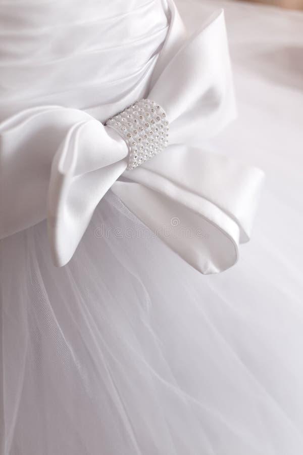 Detalhe de vestido de casamento imagens de stock