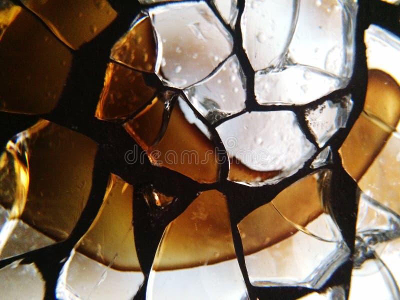 Detalhe de vidro rachado imagens de stock