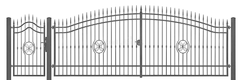 Detalhe decorativo forjado da entrada do vintage da porta da mansão do pedestre e do transporte, grande cinza escuro detalhado ho fotografia de stock