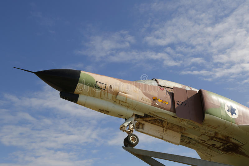 Detalhe do avião de combate do fantasma II de Israel Air Force McDonnell Douglas F-4E fotografia de stock
