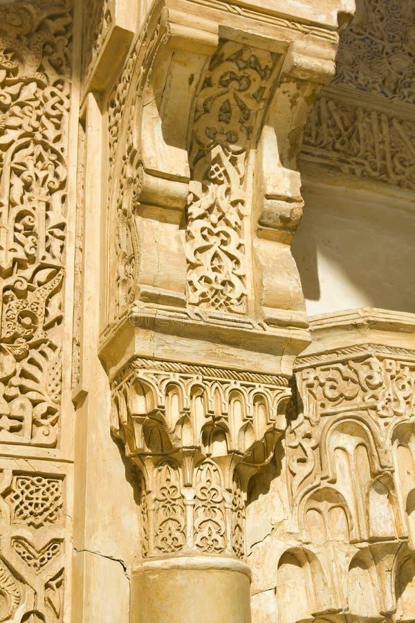 Detalhe do capital de coluna. Alhambra, Granada. fotografia de stock