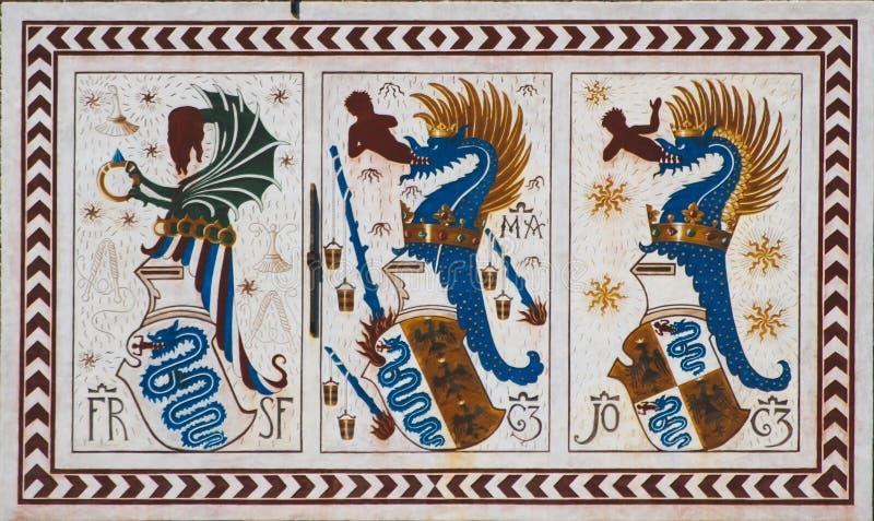 Detalhe do castelo de Sforzesco em Milão, Itália imagens de stock