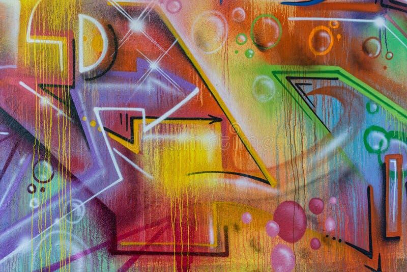 Detalhe do close-up de pintura dos grafittis foto de stock royalty free