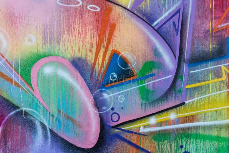 Detalhe do close-up de pintura dos grafittis fotografia de stock royalty free