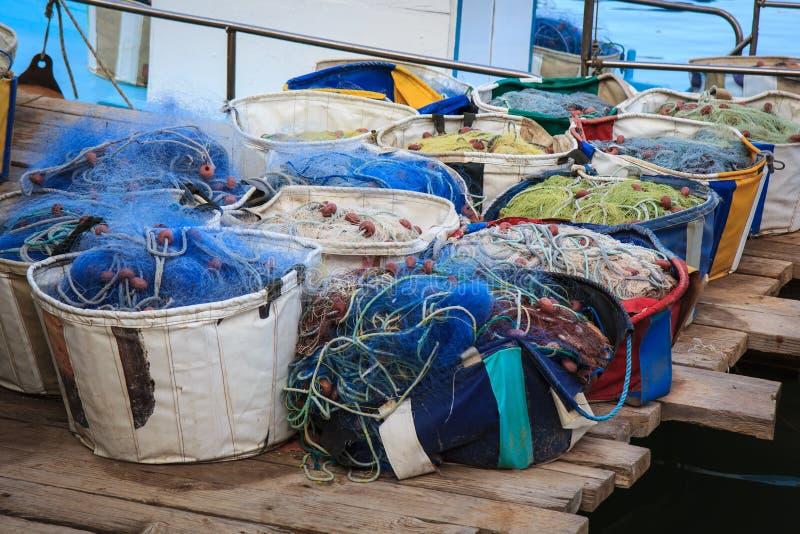 Detalhe do equipamento do barco de pesca, Chipre imagens de stock
