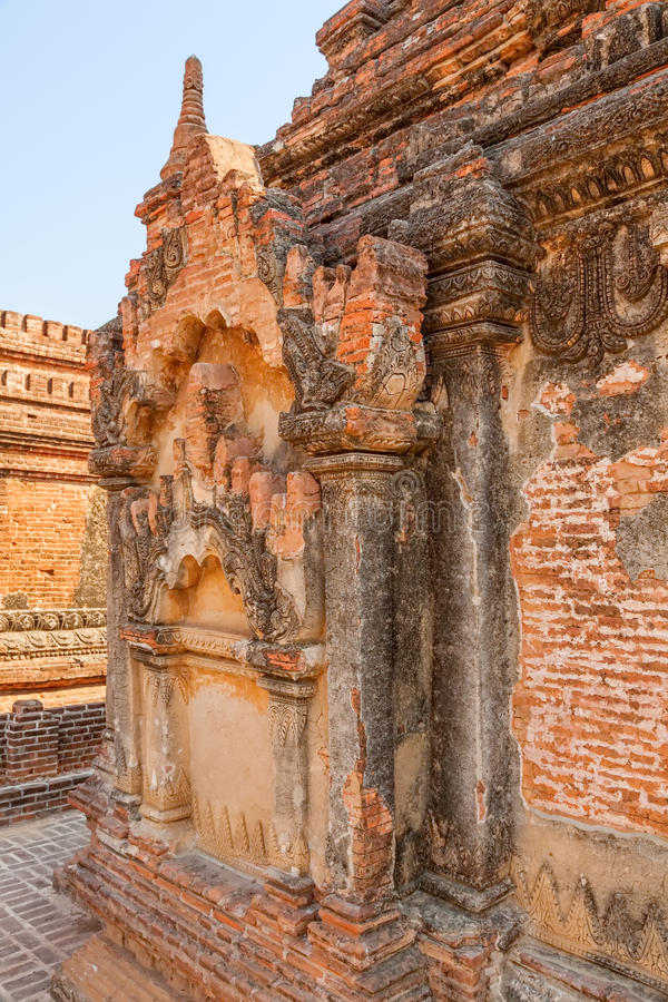 Detalhe do estuque do pagode de Bagan foto de stock royalty free