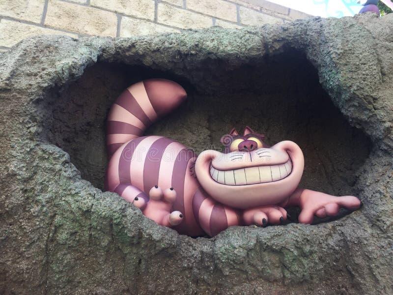 Detalhe do gato de Cheshire em Disneylândia Los Angeles fotos de stock royalty free