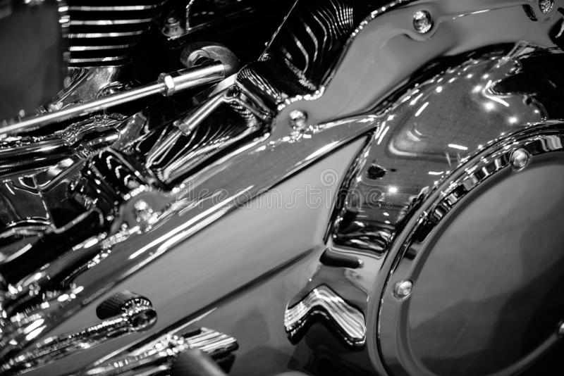 Detalhe do motor da motocicleta imagem de stock