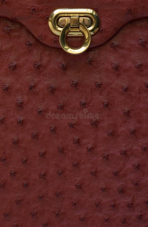 Detalhe do saco de couro do vintage imagens de stock