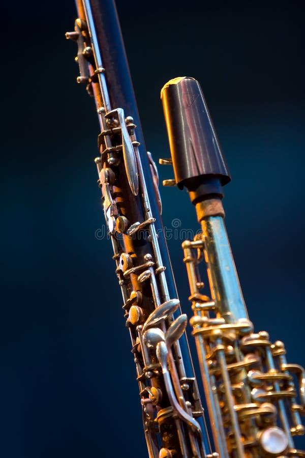 Detalhe do saxofone do soprano do Clarinet fotos de stock
