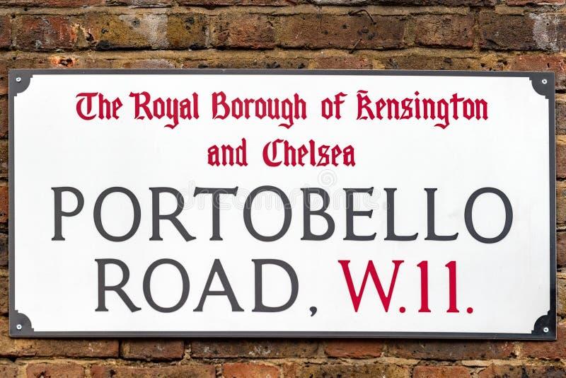 Detalhe do sinal de rua de Londres da estrada de Portobello imagem de stock royalty free