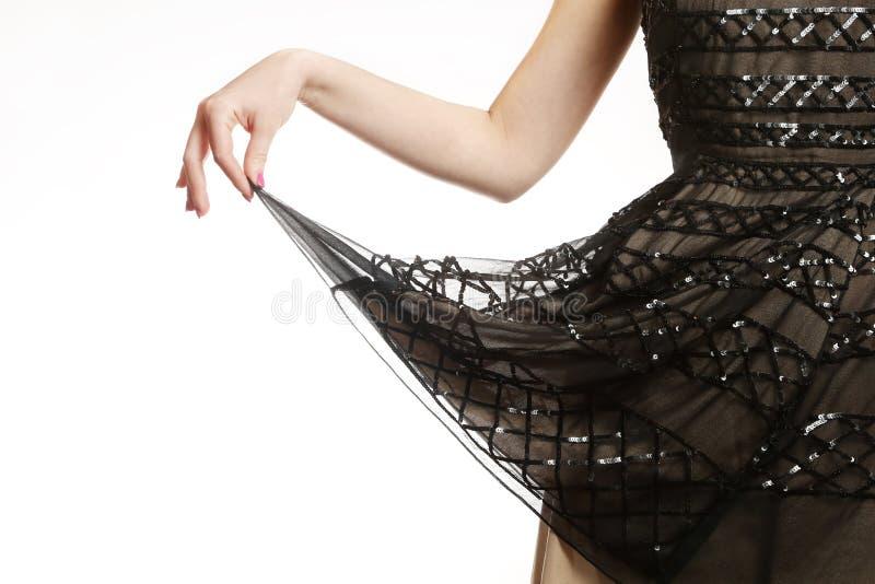 Detalhe do vestido da lantejoula foto de stock