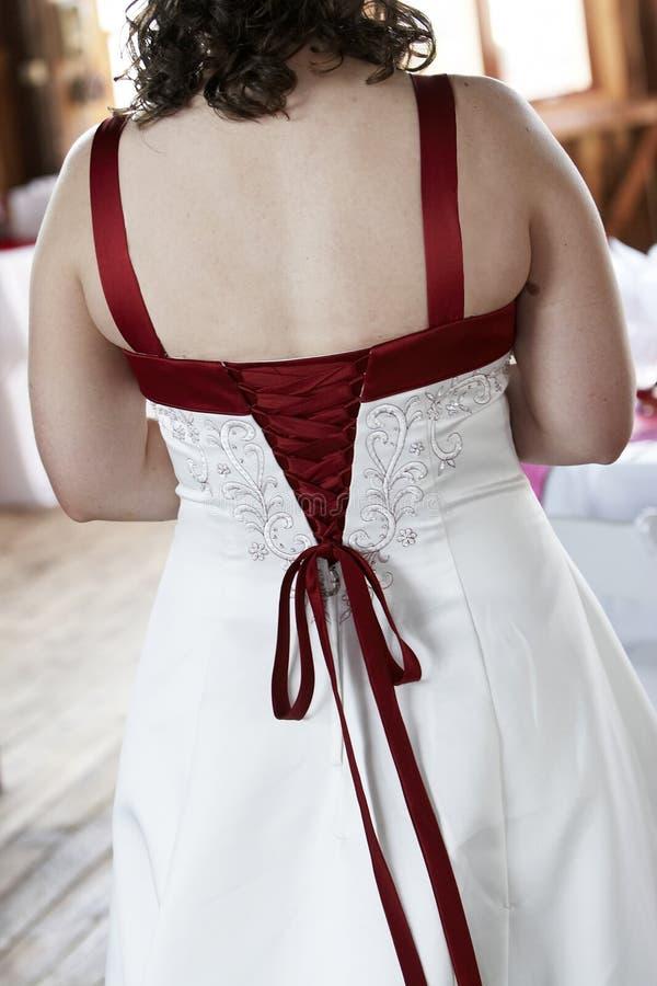 Detalhe do vestido de casamento imagem de stock