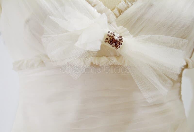 Detalhe do vestido de casamento fotografia de stock